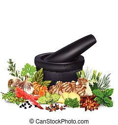 Spices and herbs with mortar an