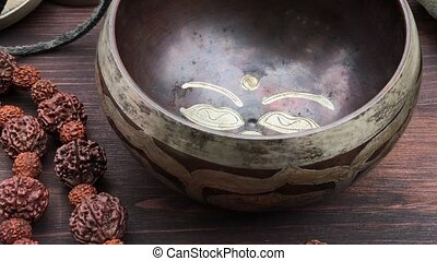 Tibetan Singing Bowl Copper, zoom - Buddhist religious...
