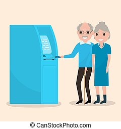 Old man puts an electronic card into the ATM