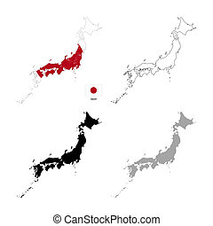 Japan country black silhouette and with flag on background,...