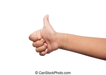 children hand with thumb up isolated on white background.