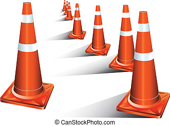traffic cone use for advertising or symbol background white