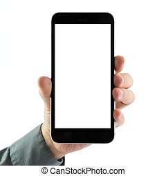 Blank smart phone - Man holding blank smart phone over white...