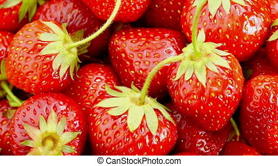 Red Strawberries Rotate. - Fresh, Ripe, Juicy Strawberries...