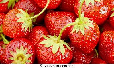 Red Strawberries Rotate. - Fresh, Ripe, Juicy Strawberries...