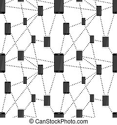 Mobile smartphones black and white colors connected in...