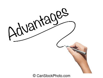 Hand writing Advantages with black marker on visual screen. Isolated on background. Business, technology, internet concept. Stock Photo
