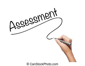 Hand writing Assessment with black marker on visual screen....