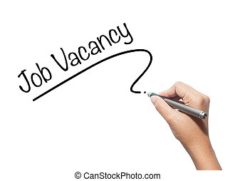 Hand writing Job Vacancy with black marker on visual screen. Isolated on background. Business, technology, internet concept. Stock Photo