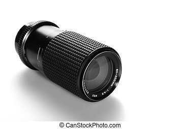 Black camera lens isolate on white