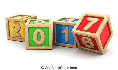 year change - abstract 3d illustration of new year symbol...