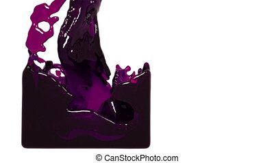 purple paint flow fills up a container slowly. tinted oil