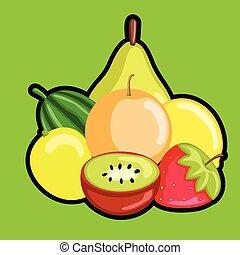 Fresh Mix Healthy Fruits Vector