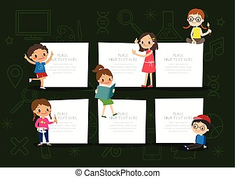 kids with blank notepad board on green chalkboard background cartoon illustration