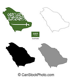Saudi Arabia country black silhouette and with flag on...