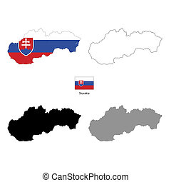 Slovakia country black silhouette and with flag on...