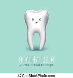 Vector dental medical poster with 3d human tooth. Health concept
