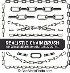 Realistic metal chain set, vector silver chains. Industrial...