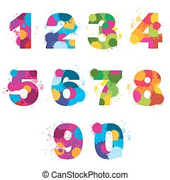 Vector numbers painted by colorful splashes
