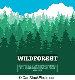 Wild landscape with fir trees coniferous forest vector...