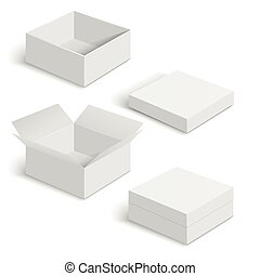 White square box vector templates set isolated on white...