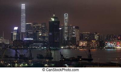 Timelapse of Hong Kong and water transport traffic in...