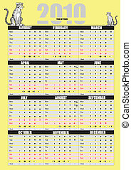 2010 calendar. Can be used as orga