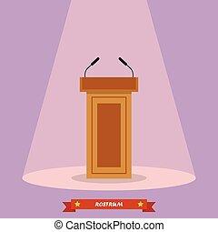 Wooden podium tribune rostrum stand with microphones. Vector...