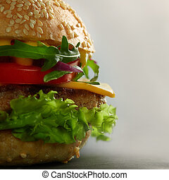 home made tasty burgers isolated on gray background
