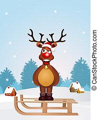 cute reindeer on sleigh