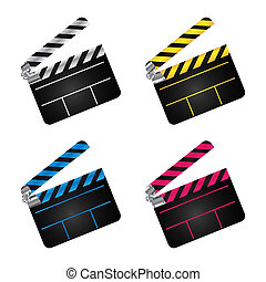 movie clapper boards - A set of movie clapper boards over...