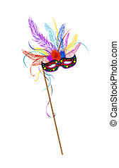 Mardi Grass mask with colored feathes