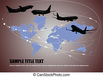 Airplane silhouettes with Earth em