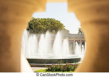 city landscape, fountain