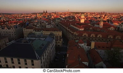 Prague and its Old Town, aerial view