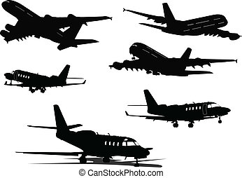 Six black and white Airplane silhouettes Vector illustration...