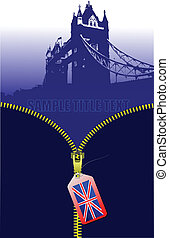 Zipper open Britain image. Vector