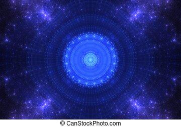 Blue flower fractal in space - Blue flofractal blue circle...