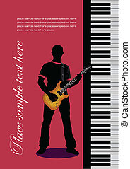 Piano with guitar. Cover for note book