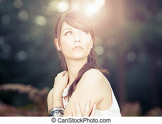 Stunning Teenage Model in Sunny Forest - Shot of a Stunning...