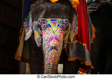 Painted elephant in Jaipur, India. Typical touristic...