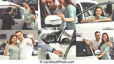 Couple buying a car - Collage of beautiful young couple...