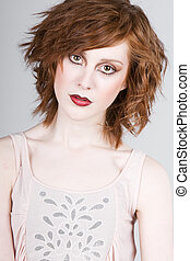 Beautiful Red Headed Teenage Girl - Striking Portrait of a...