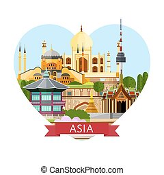 Asia travel banner with famous attractions.