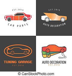 Set of car paint, car parts vector icon, symbol, sign, logo