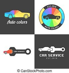 Conjunto, coche, partes, Colección, símbolo, señal, vector,...
