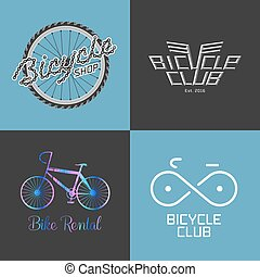 Bicycle shop, rent a bike, bicycle repair set, collection of vector logo