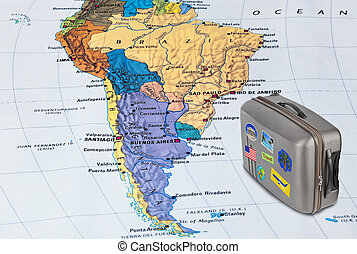 Brazil map and travel case with stickers (my photos)