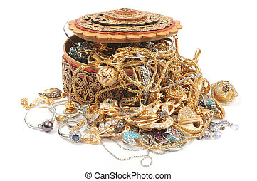 Gold jewelry - Wooden box full of gold jewelry, on white...