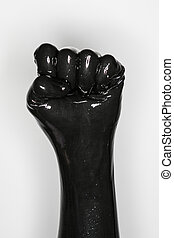 Desgastar,  látex, mão, pretas, punho,  glove:, gesto